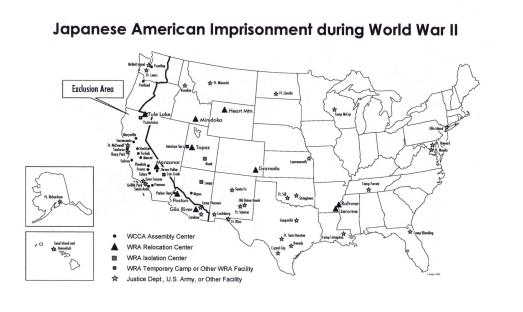 Map of American Japanese Internment Camps
